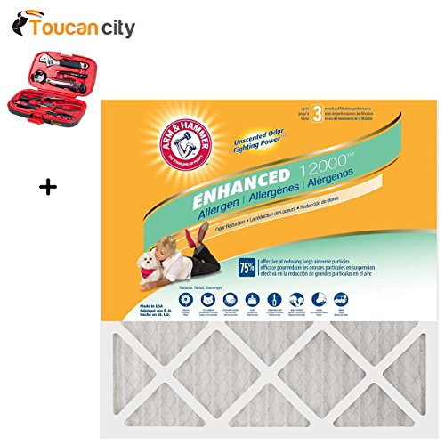 Toucan City Tool Kit (9-piece) and 20 in. x 20 in. x 1 in. Odor Allergen and Pet Dander Control Air Filter (12-Pack) AF-AH2020