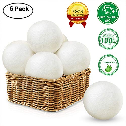 Wool Dryer Balls 6 Pack  Reusable Natural Fabric Softener  Reduce Wrinkles   Static Cling   Drying Time  100  Organic New Zealand Wool  Xl Size Premium
