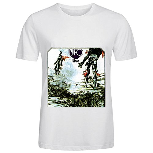 Ufo Ufo Live Rock Album Cover Men Crew Neck Design T Shirts White