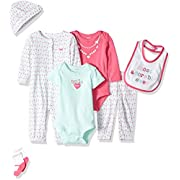Carter's Baby Girls' 7-Piece Bodysuit Set, Pink Heart, Newborn
