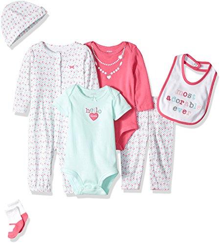 Carter's Girls' 7-Piece Set with Bodysuits, Pink Heart, 3 Months