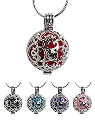 Love Heart Scroll Essential Oil Diffuser Necklace For Aromatherapy - With 24