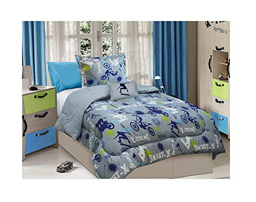 - All American Collection 3 Piece Twin Size X-Treme Sports Comforter Set with Furry Friend, Matching Sheet Set and Curtain