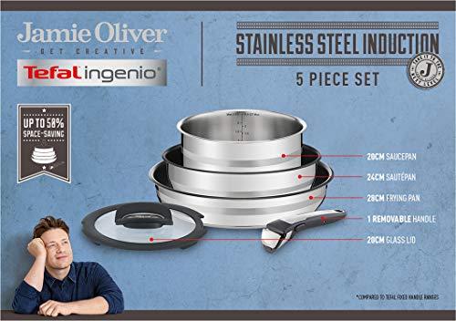 Tefal L95690 Ingenio by Jamie Oliver 5-teiliges Pfannen- und Topfset | Backofengeeignet bis 250°C ohne Griff | Thermo-Spot | PFOA-frei | geeignet für alle Herdarten inkl. Induktion | Edelstahl/schwarz