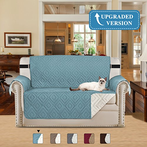 - H.VERSAILTEX Soft and Water-repellent Stay in Place Home Fashion Furniture Protector Anti-Slip Machine Washable Sofa Cover for Livingroom with Strap, 75inch x 90inch (Stone Blue/Beige, for Loveseat)