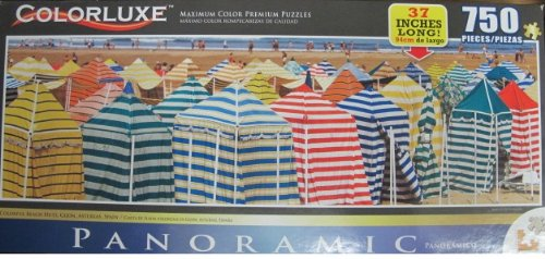 Colorluxe Panoramic Puzzle Collector Colorful Beach Huts Gijon, Asturias, Spain - 750 Piece Puzzle (37 Inches Long)