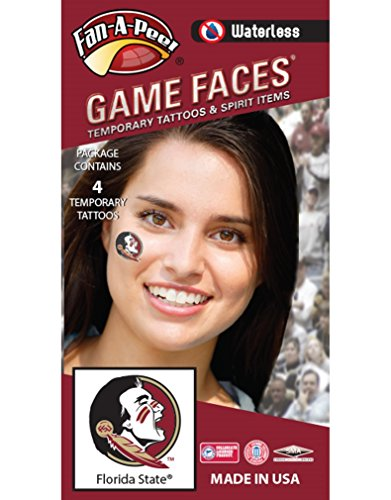 Florida State (FSU) Seminoles - Waterless Peel & Stick Temporary Spirit Tattoos - 4-Piece - Native-American Head Circle Logo ()