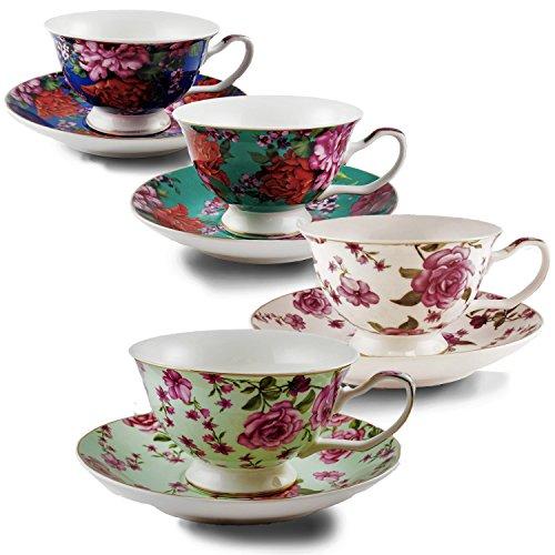BTäT- Tea Cups, Tea Cups and Saucers Set of 4, Tea Set, Floral Tea Cups (7oz), Tea Cups and Saucers Set, Tea Set for Adults, Porcelain Tea Cups, Tea Cups for Tea Party, Rose Teacups, China Tea Cups - Edge Tea Saucer
