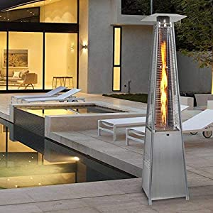 COSTWAY 13KW Outdoor Patio Gas Heater, Stainless Steel Gas Flame Heater, Tilt Auto-Shut off Protection, Pyramid Style Propane Burner with Wheel, Regulator & Hose for Garden, BBQ, Camping