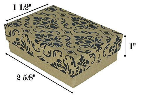 """888 Display USA Damask Print Jewelry Gift Box with Removable Cotton Pad 2 5/8"""" x 1 ½"""" x 1"""" (Pack of 25) - Damask Jewelry"""