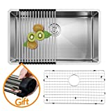 VAPSINT Commercial 30 Inch 18 Gauge 10 Inch Deep Handmade Drop In Undermount Single Bowl Stainless Steel Kitchen Sink, Including Dish Drying Rack and Dish Grid Kitchen Sinks