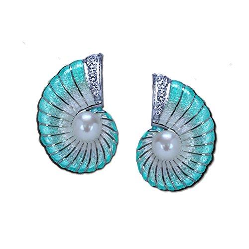 Guy Harvey Nautilus Earrings - Sterling Silver and Vitreous Enamel (Turquoise)