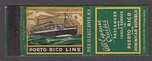 Porto Rico Line Passenger Cargo Service Puerto Dominican Republic Matchcover