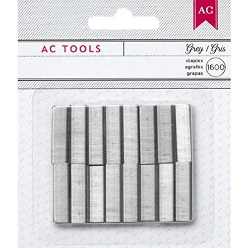 American Crafts 1600-Staple DIY Shop Stapler Refills Set, Mini, Gray
