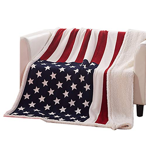 - Homiest Premium Flannel Sherpa Throw Blanket Reversible Fleece American Flag Blanket Super Soft Cozy Plush Microfiber Throw for Couch Chair Bed Office 50