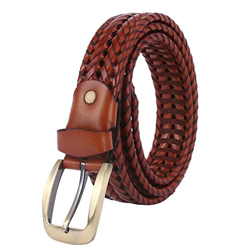 WERFORU Braided Leather Belt for Men Woven Full Grain With Brass Finish Buckle