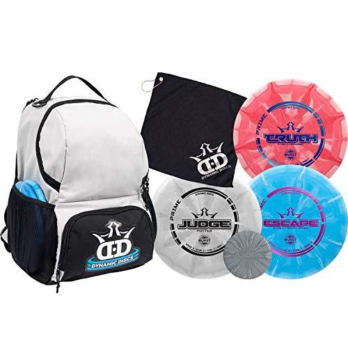Dynamic Discs Disc Golf Starter Set | Gray/Black Cadet Disc Golf Bag Included | 17+ Disc Capacity | Prime Burst Disc Golf Frisbee Set Included | Putter, Midrange, Driver | 170g plus | Colors will vary