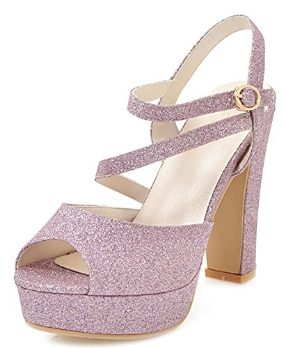 Aisun Women's Chic Sequins Platform Ankle Strap High Chunky Heels Sandals Purple gItsuw