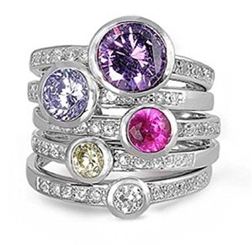 (2mm (.25-1ctw) WIDE LARGE Sterling Silver 5 Colors Solitaire Handset Stacked CZ Eternity Ring Set 6-11 (11))
