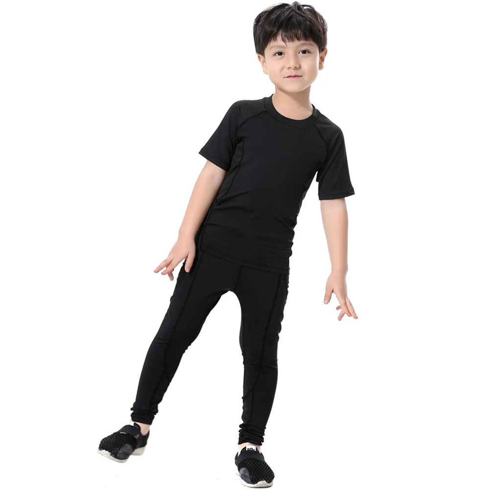 Minghe Boys 2 Pack Skin Base Layer Tops Solid Crew Neck T-Shirt-Moisture Wicking