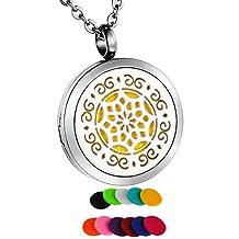 HooAMI Lotus Flower Aromatherapy Essential Oil Diffuser Necklace Locket Pendant Jewelry