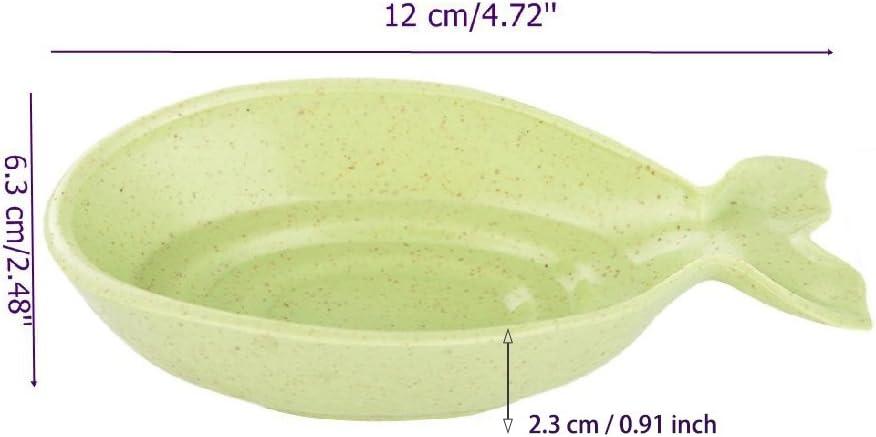 MOTZU 4 Pack Cute Fish Shaped Plate Dish for Soy Sauce Vinegar Sushi,Kitchen Tools
