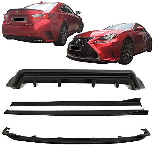 Full Lip Kit Conversion Fits 2015-2017 Lexus RC300 RC350 F-Sport | Silk blaze Style Black PP Front Bumper Lip Rear Diffuser Side Skirts by IKON MOTORSPORTS | 2016
