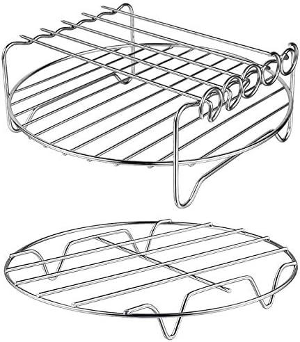 Rack Un Doppio Strato Multiuso con Spiedino SODIAL Accessori per Friggitrice Ad Aria Compatibile con XL Power Set di 2 Friggitrici per Aria