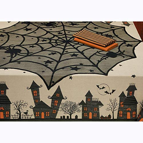 Halloween Tablecloth, Elevin(TM) Halloween Spider Round Web Tablecloth Topper Covers Fireplace Table Party Decor (Dept Fire Embroidery)