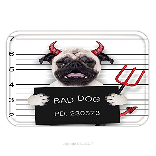 Flannel Microfiber Non-slip Rubber Backing Soft Absorbent Doormat Mat Rug Carpet Halloween Devil Pug Dog Crying In A Mugshot Caught On With Photo Camera In Police Station Jail 319956530 for Indoor/Out
