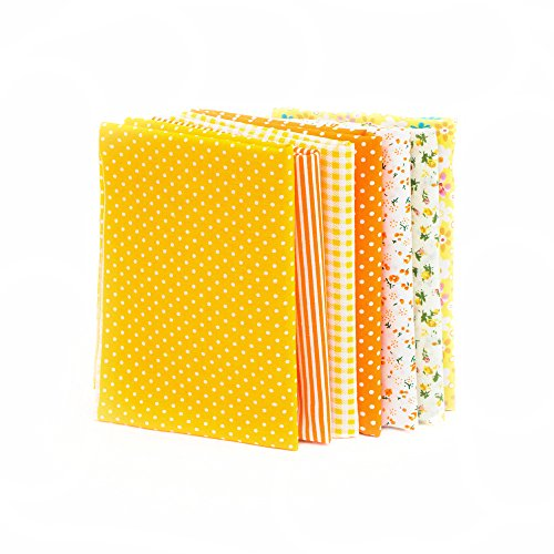 RayLineDo 7pcs 5050cm Different Pattern Patchwork Fabric Craft Printed Cotton Material Mixed Squares Bundle Quilting Scrapbooking Sewing Artcraft DIY Fabric Yellow Series