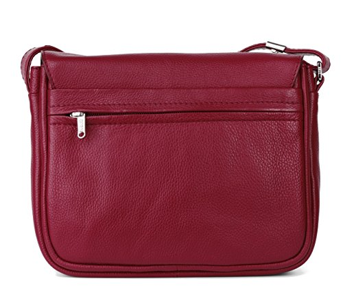 BREE - Bolso cruzados para mujer Rojo red grained 25 cm x 20 cm x 8 cm (B x H x T) red grained