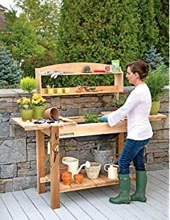 Amazon Com All Things Cedar Potting Bench Garden Outdoor
