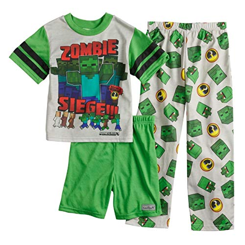 Minecraft Zombie 3-Piece Pajama Set Boys (12) (12)