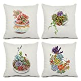 U-LOVE 4Pack Succulent Throw Pillow Covers Cotton Linen Square Pillowcases with Hand-painted Potted Plants Gardening Theme 18 X 18 Inch Decorative Cushion Cover(Succulent-1)