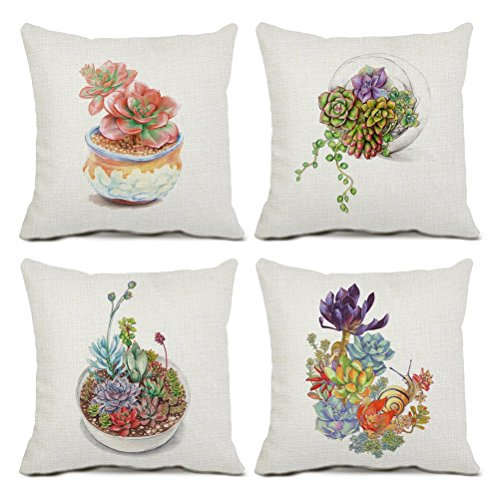 U-LOVE 4Pack Succulent Throw Pillow Covers Cotton Linen Square Pillowcases with Hand-painted Potted Plants Gardening Theme 18 X 18 Inch Decorative Cushion Cover(Succulent-1) -