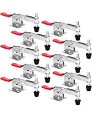 Chfine 10pack Hold Down Toggle Clamps Latch Antislip Red Hand Tool Holding Capacity Antislip Horizontal Heavy Duty Toggle Clamp 201-B 220lbs Quick Release Tool(201-B)