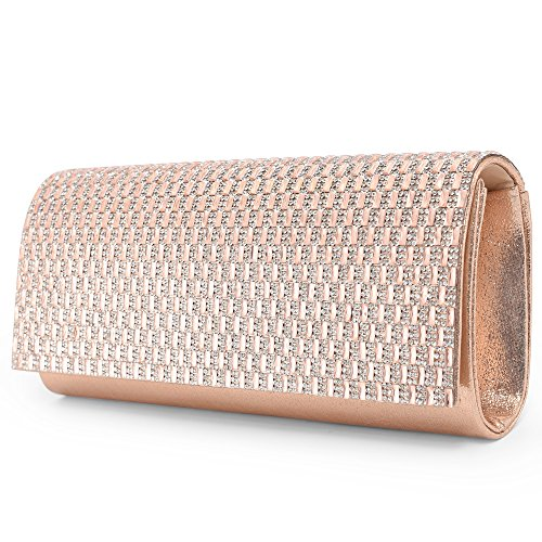 Clutch Bag Apricot - LONGBLE Woman Glittery Clutch Bag Evening Bag Rhinestones and Paillette Decor Formal Handbag Shoulder Bag with Detachable Chain For Wedding Parties (Apricot Pink)