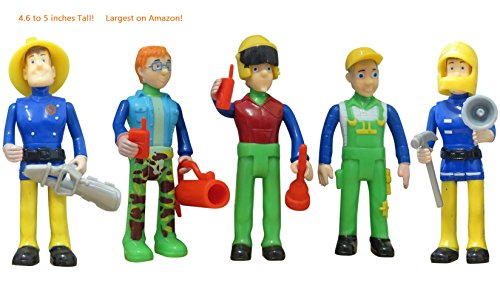 [FUNERICA Set of 5 Fireman figures with accessories and Fireman miniatures (Model 2)] (Fireman Sam Costume 2-3)