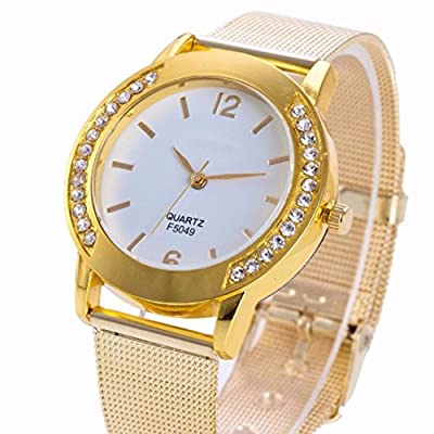 WM & MW Fashion Casual Watches,Women Ladies Crystal Golden Stainless Steel Analog Quartz Wrist Watch