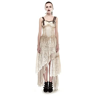 32fd540cbf60 PUNK Steam Women Long Lace Dress Condole Belt Gothic Summer Dresses Khaki  (L
