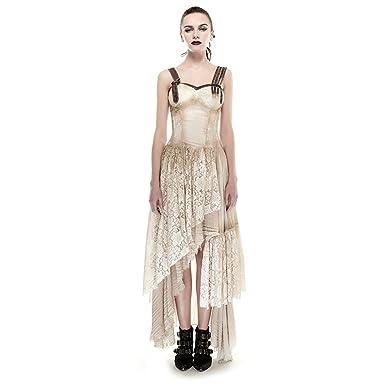 1376ed79bf55 PUNK Steam Women Long Lace Dress Condole Belt Gothic Summer Dresses Khaki  (L