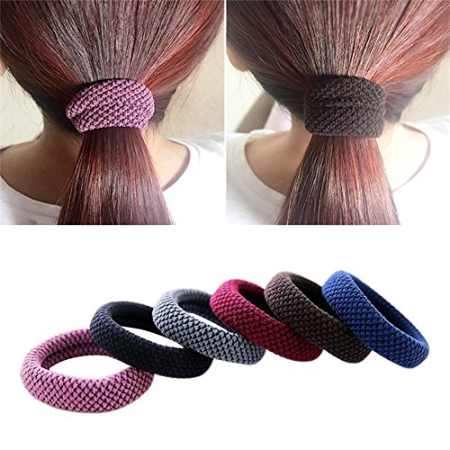 Khalee Hair Elastics Tie Stretch Ponytail Band Thick Hairs Elastics, 6 PCS (Ponytail Bands)