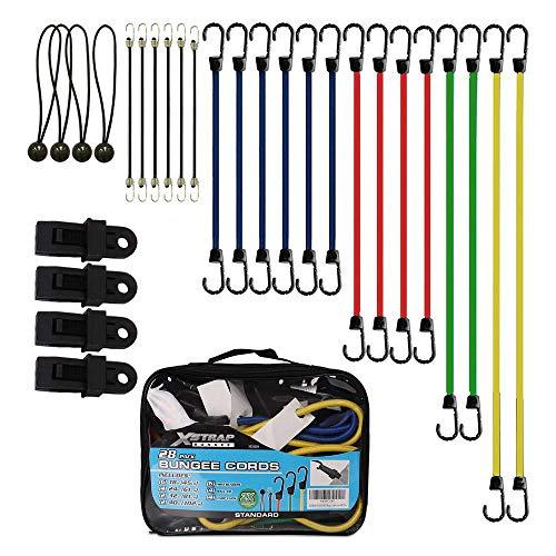 XSTRAP Bungee Cords Assortment Bag 28 Pieces- Includes 18