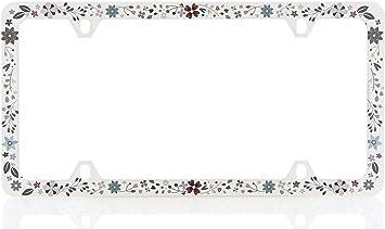 Retro Daisy Blue License Plate Frame
