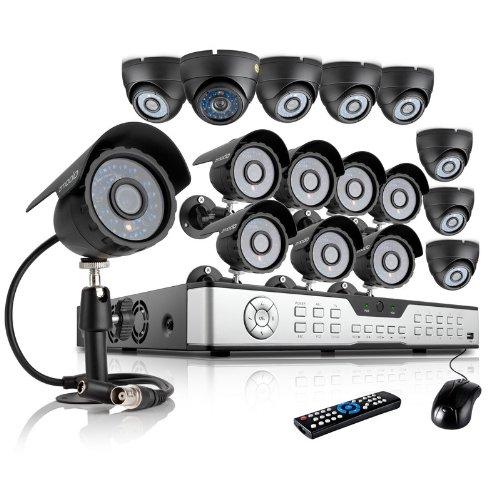ZMODO 600TVL Surveillance Home Security Camera System 16CH H.264 DVR 8 Dome 8 Bullet 600TVL Cameras No Hard Drive by Zmodo