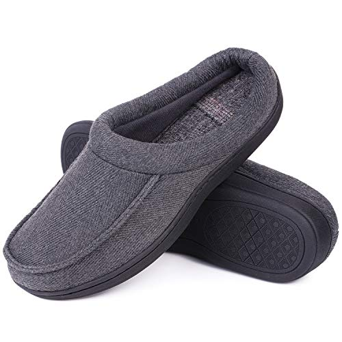 (LongBay Men's Wool-Like Memory Foam Slippers Comfy Cozy Clogs House Shoes (Large / 11-12 D(M) US, Dark Gray))