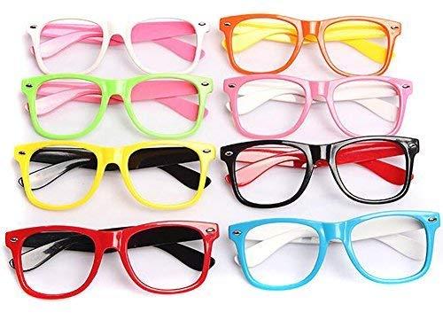 Set of 6 Kids Children Candy Colour Fashion Cute Glasses Frame Without Lenses Nerdy Retro Glasses Party Supplies (Colour Random) -
