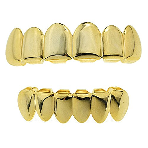 14K Gold Plated Best Grillz Set Top And Bottom Golds Uppe...