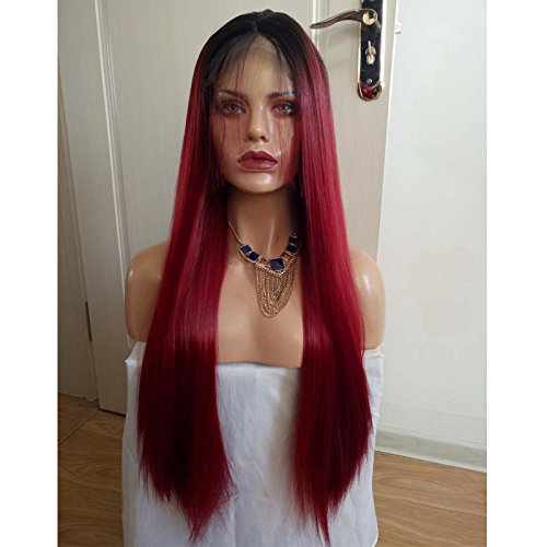 Hesperis Synthetic Hair Ombre Burgundy Lace Front Wigs For Black Women Long Straight Ombre Red Heat Resistant Hair Wig Baby Hair-26inch